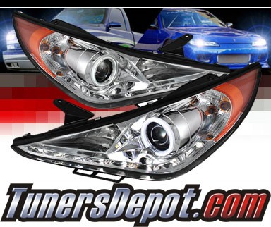 Sonar® LED CCFL Halo Projector Headlights - 11-14 Hyundai Sonata