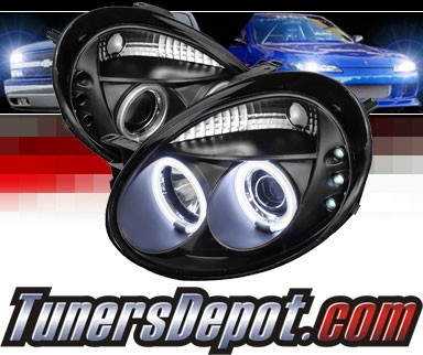Sonar® LED CCFL Halo Projector Headlights (Black) - 03-05 Dodge Neon
