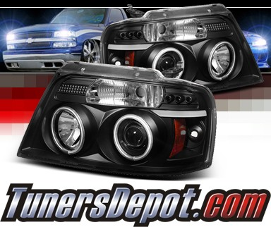 Sonar® LED CCFL Halo Projector Headlights (Black) - 04-08 Ford F150 F-150  w/ Amber Reflector