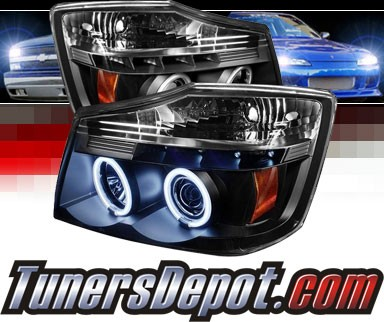 Sonar® LED CCFL Halo Projector Headlights (Black) - 04-12 Nissan Titan