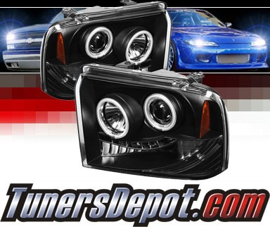 Sonar® LED CCFL Halo Projector Headlights (Black) - 05-07 Ford F-450 F450