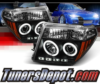 Sonar® LED CCFL Halo Projector Headlights (Black) - 05-08 Nissan Frontier