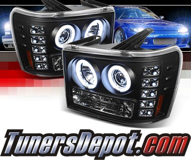 Sonar® LED CCFL Halo Projector Headlights (Black) - 07-12 GMC Sierra (Incl. Denali & Hybrid)