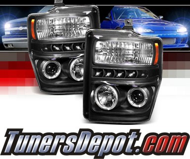 Sonar® LED CCFL Halo Projector Headlights (Black) - 08-10 Ford F-250 F250