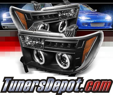 Sonar® LED CCFL Halo Projector Headlights (Black) - 08-13 Toyota Sequoia