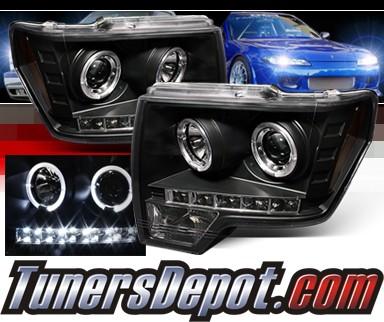 Sonar® LED CCFL Halo Projector Headlights (Black) - 09-14 Ford F150 F-150