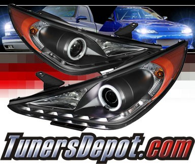 Sonar® LED CCFL Halo Projector Headlights (Black) - 11-14 Hyundai Sonata