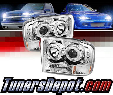 Sonar® LED CCFL Halo Projector Headlights (Chrome) - 99-04 Ford F-250 F250  Super Duty
