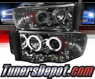 Sonar Led Ccfl Halo Projector Headlights Smoke 03 05 Dodge Ram Pickup Pro Yd Dr02 Sm