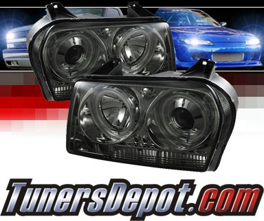 Sonar® LED CCFL Halo Projector Headlights (Smoke) - 05-08 Chrysler 300