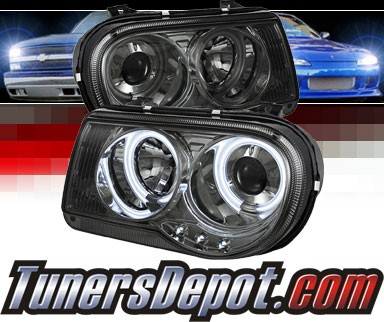 Sonar® LED CCFL Halo Projector Headlights (Smoke) - 05-10 Chrysler 300C