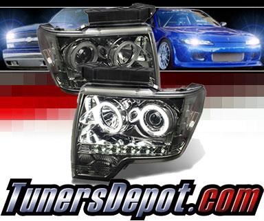Sonar® LED CCFL Halo Projector Headlights (Smoke) - 09-14 Ford F150 F-150