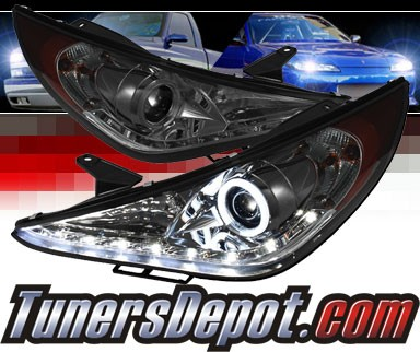 Sonar® LED CCFL Halo Projector Headlights (Smoke) - 11-14 Hyundai Sonata