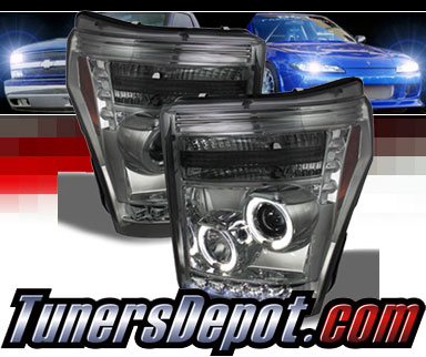 Sonar® LED CCFL Halo Projector Headlights (Smoke) - 11-16 Ford F-350 F350 Super Dudy