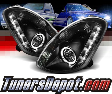Sonar® LED Halo Projector Headlights (Black) - 03-04 Infiniti G35 4dr (w/o Stock HID)