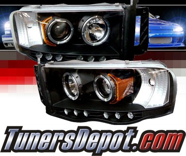 Sonar® LED Halo Projector Headlights (Black) - 03-05 Dodge Ram Pickup