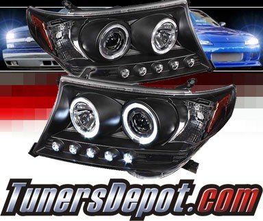 Sonar® LED Halo Projector Headlights (Black) - 08-11 Toyota Land Cruiser