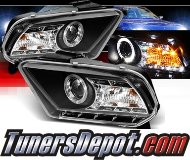 Sonar® LED Halo Projector Headlights (Black) - 10-12 Ford Mustang (w/o Stock HID)