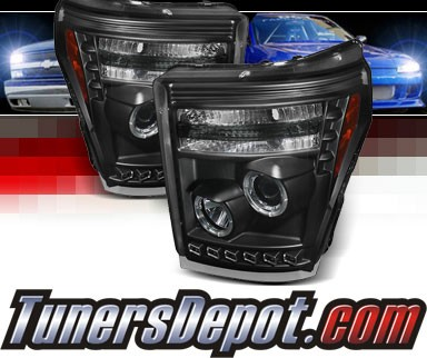 Sonar® LED Halo Projector Headlights (Black) - 11-16 Ford F-250 F250 Super Duty