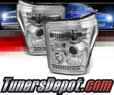 Sonar® LED Halo Projector Headlights (Chrome) - 11-16 Ford F-450 F450 Super Duty