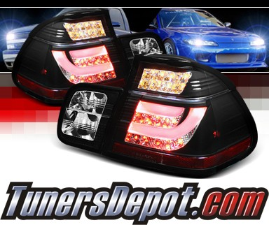 Sonar® LED Tail Lights (Black) - 02-05 BMW 330i E46 4dr Sedan (w/ Strip Style)