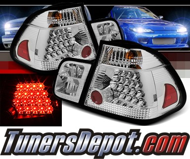 Sonar® LED Tail Lights (Chrome) - 02-05 BMW 325i E46 4dr Sedan