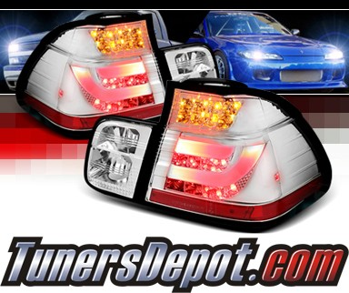 Sonar® LED Tail Lights (Chrome) - 02-05 BMW 325i E46 4dr Sedan (w/ Strip Style)
