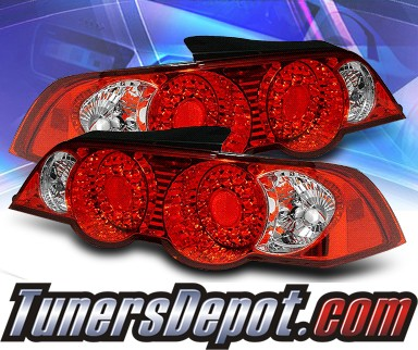Sonar Led Tail Lights Red Clear 02 04 Acura Rsx Alt Yd Arsx02 Led Rc
