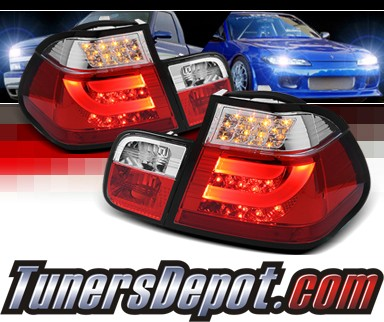 Sonar® LED Tail Lights (Red/Clear) - 02-05 BMW 330i E46 4dr Sedan (w/ Strip Style)