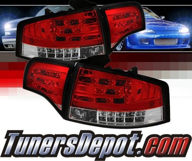 Sonar® LED Tail Lights (Red/Clear) - 06-08 Audi A4 4dr (Gen 2)