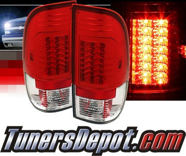 Sonar® LED Tail Lights (Red/Clear) - 08-13 Ford F-350 F350 (Gen 2)