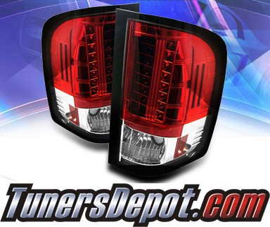 Sonar® LED Tail Lights (Red/Clear) - 09-10 Chevy Silverado Pickup Truck with 921 Reverse Bulb Only (Not larger 3047 Reverse Bulb)