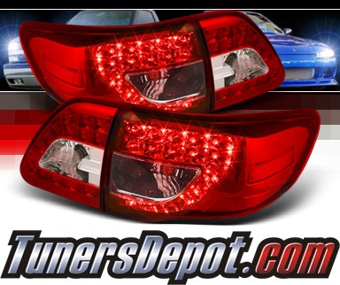 Sonar® LED Tail Lights (Red/Clear) - 09-10 Toyota Corolla