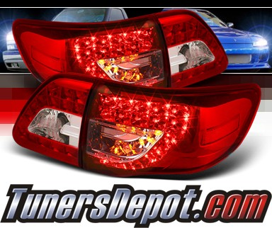 Sonar® LED Tail Lights (Red/Clear) - 09-10 Toyota Corolla (w/ LED Signal)