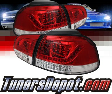 Sonar® LED Tail Lights (Red/Clear) - 10-12 VW Volkswagen Golf (Incl. GTI)