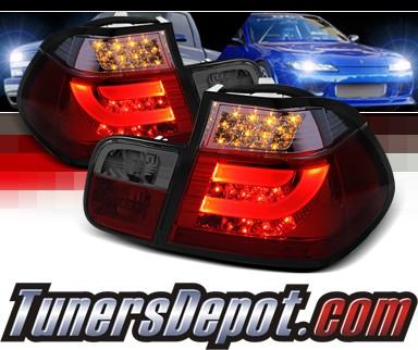 Sonar® LED Tail Lights (Red/Smoke) - 02-05 BMW 330i E46 4dr Sedan (w/ Strip Style)