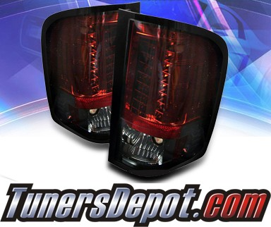 Sonar® LED Tail Lights (Red/Smoke) - 09-10 Chevy Silverado Pickup Truck with 921 Reverse Bulb Only (Not larger 3047 Reverse Bulb)