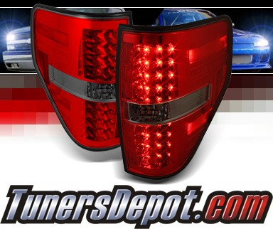 Sonar® LED Tail Lights (Red/Smoke) - 09-13 Ford F150 F-150