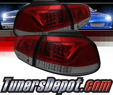 Sonar® LED Tail Lights (Red/Smoke) - 10-12 VW Volkswagen Golf (Incl. GTI)