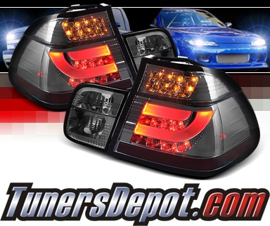 Sonar® LED Tail Lights (Smoke) - 02-05 BMW 325i E46 4dr Sedan (w/ Strip Style)