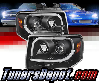 Sonar Light Bar Drl Projector Headlights Black 07 13 Ford Expedition Pro Yd Fe07 Ltdrl Bk