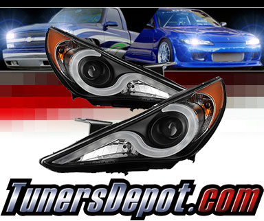Sonar® Light Bar DRL Projector Headlights (Black) - 11-14 Hyundai Elantra