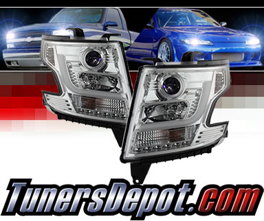 Sonar® Light Bar DRL Projector Headlights (Chrome) - 15-16 Chevy Tahoe