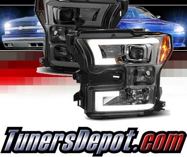 Sonar® Light Bar DRL Projector Headlights (Smoke) - 15-17 Ford F150 F-150