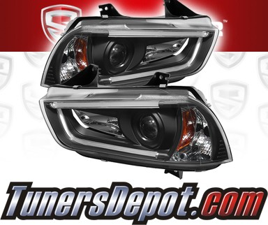 Sonar Light Tube DRL Projector Headlights (Black) - 11-14 Dodge Charger with stock HID