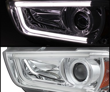 Sonar Light Tube DRL Projector Headlights (Chrome) - 11-14 Dodge Charger with stock HID