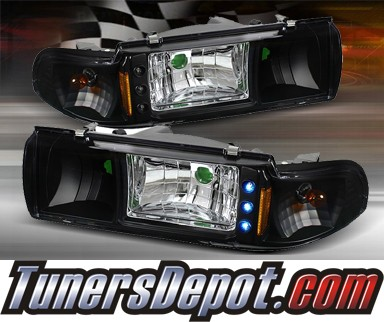 TD® 1 pc LED Crystal Headlights (Black) - 91-96 Chevy Caprice