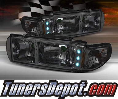 TD® 1 pc LED Crystal Headlights (Smoke) - 91-96 Chevy Caprice