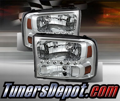 Td 1pc harley style led crystal headlights chrome 99 04 for Html td style