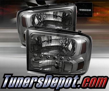 99 F350 Headlights >> Td 1pc Harley Style Led Crystal Headlights Smoke 99 04 Ford F 350 F350 Super Duty
